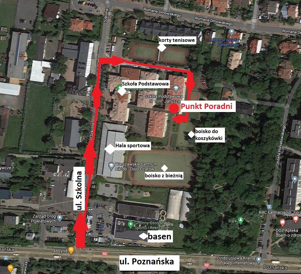 Mapa dojazdu do Punktu Poradni w Ożarów Mazowiecki